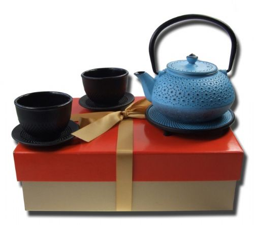 Gift set cast iron Tetsubin Daisy blue tea pot 0.6L blue trivet X2  black hobnail Cups